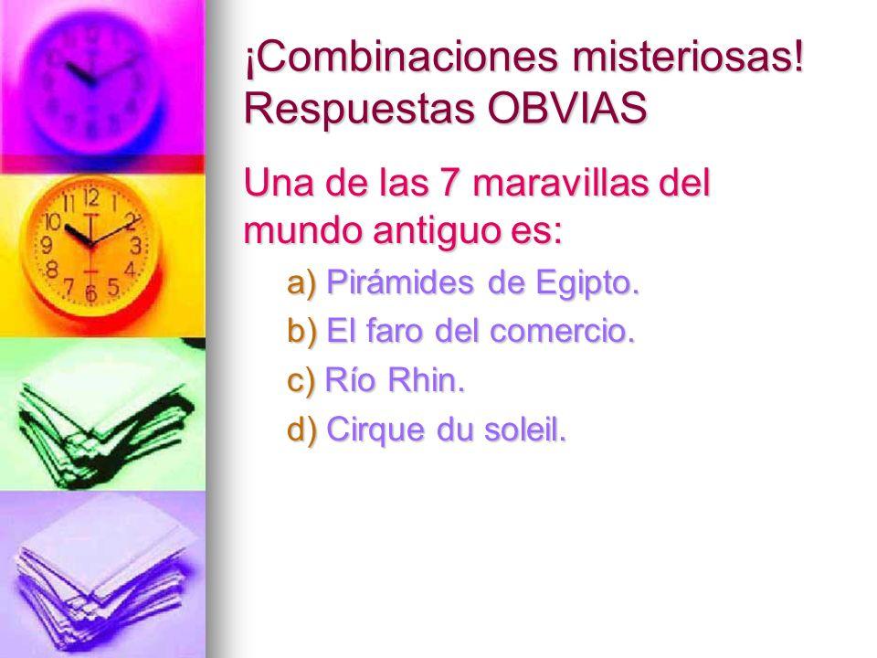¡Combinaciones misteriosas! Respuestas OBVIAS