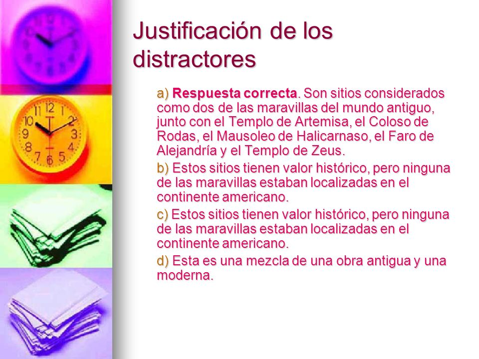 Justificación de los distractores
