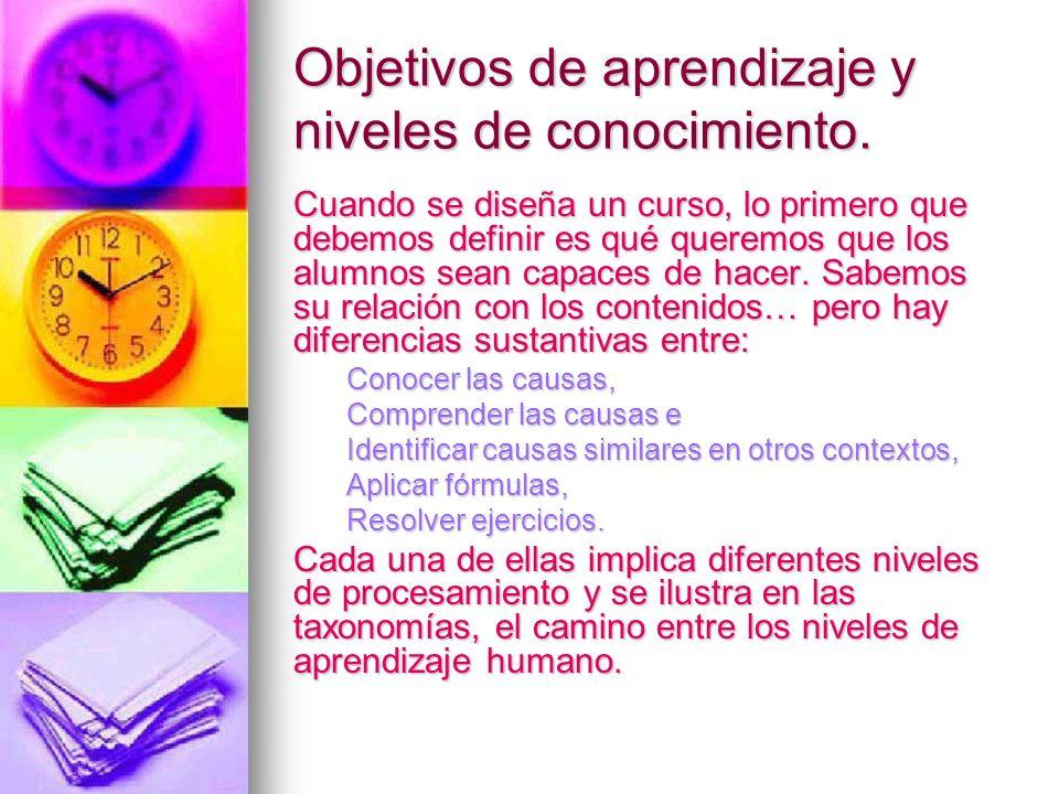 Objetivos de aprendizaje y niveles de conocimiento.