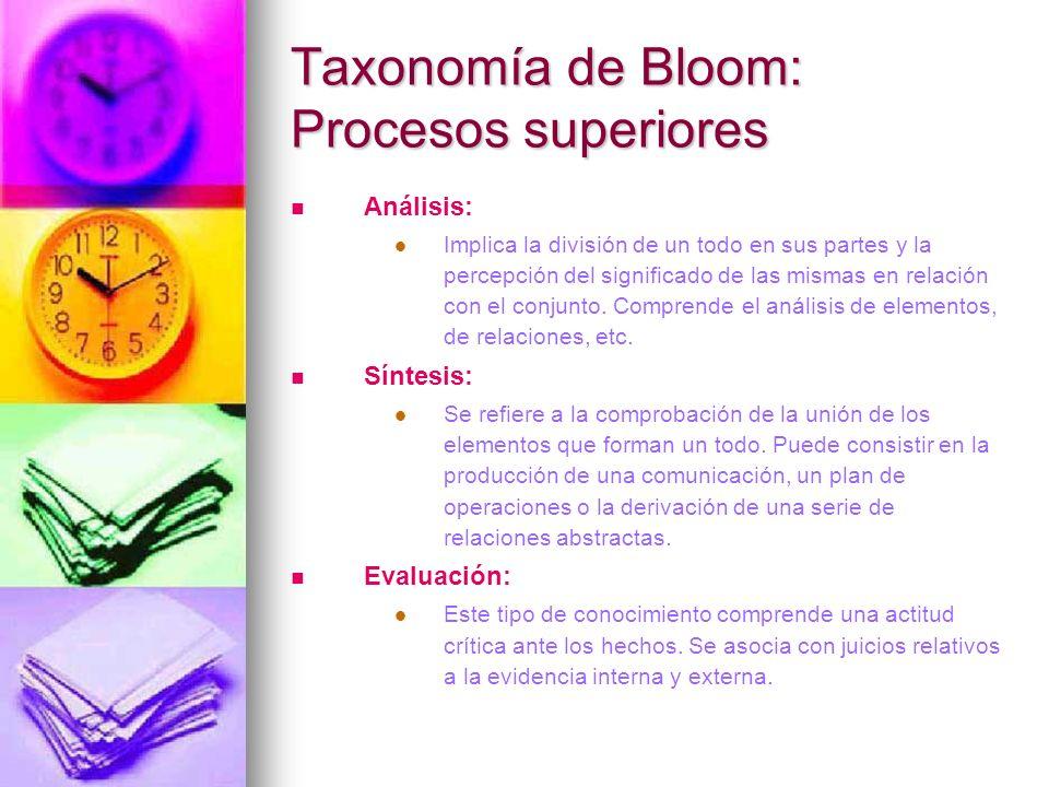 Taxonomía de Bloom: Procesos superiores