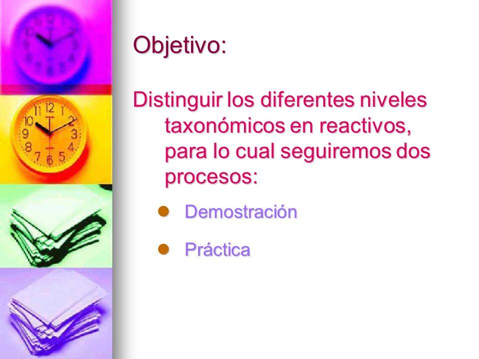 Objetivo: Distinguir los diferentes niveles taxonómicos en reactivos, para lo cual seguiremos dos procesos: