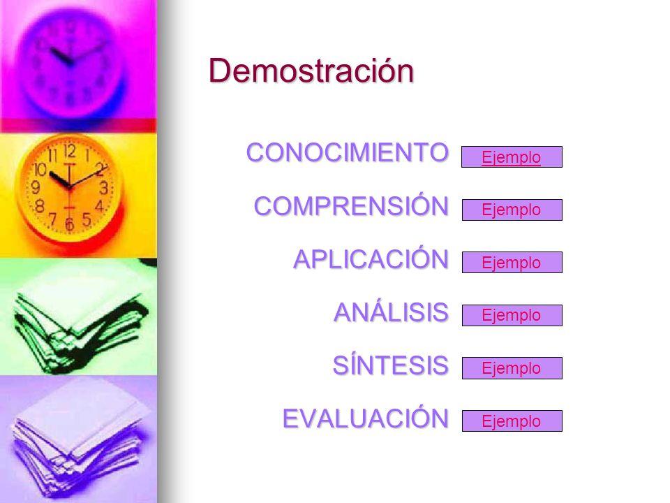Demostración CONOCIMIENTO COMPRENSIÓN APLICACIÓN ANÁLISIS SÍNTESIS