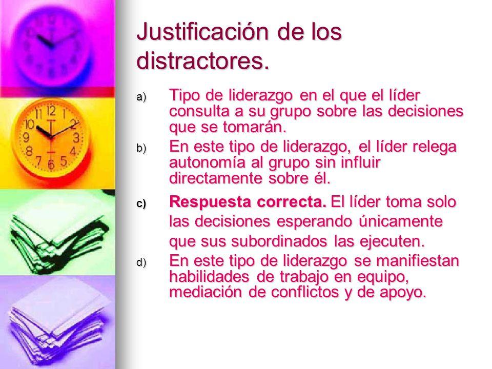 Justificación de los distractores.