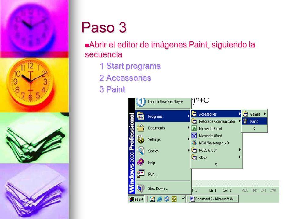 Paso 3 Abrir el editor de imágenes Paint, siguiendo la secuencia