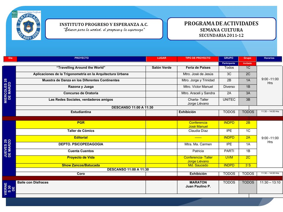 INSTITUTO PROGRESO Y ESPERANZA A.C. PROGRAMA DE ACTIVIDADES