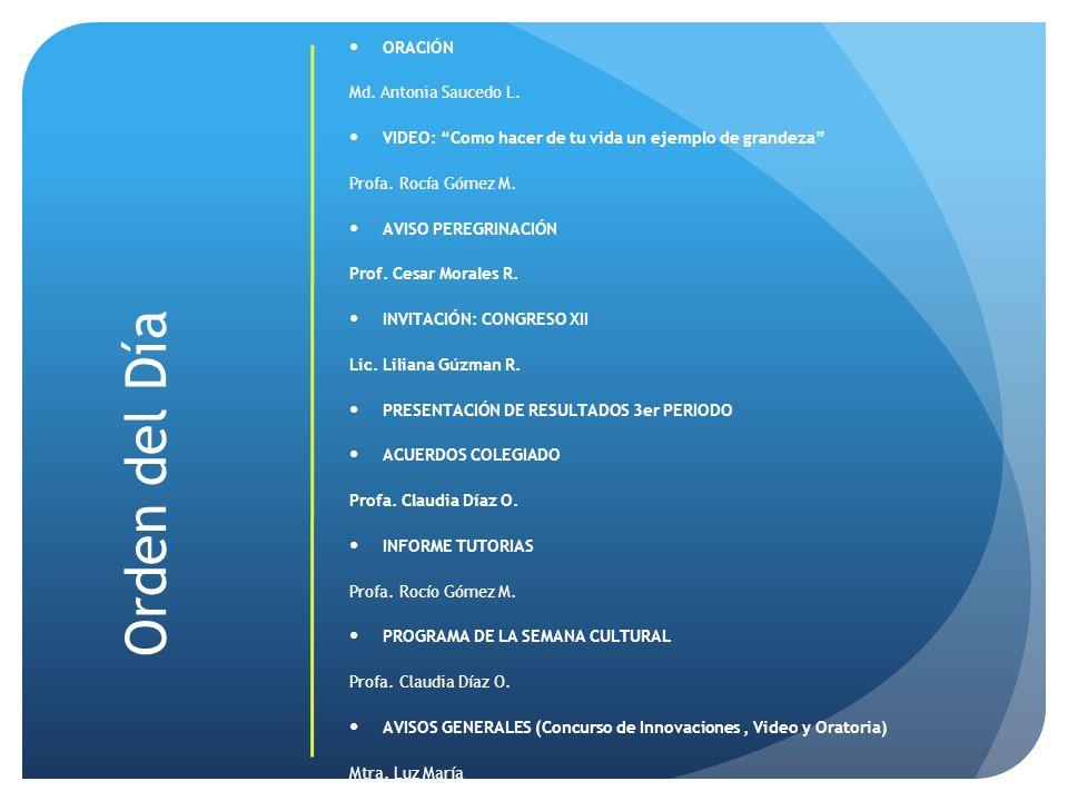 Orden del Día ORACIÓN Md. Antonia Saucedo L.