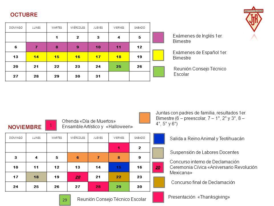 OCTUBRE NOVIEMBRE Exámenes de Inglés 1er. Bimestre