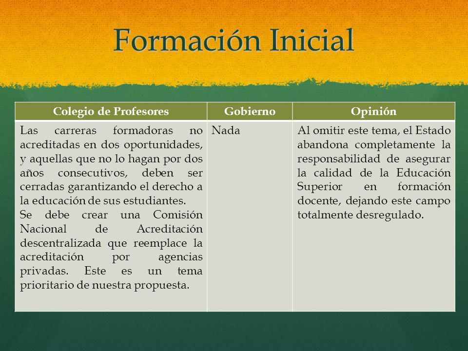 Formación Inicial Colegio de Profesores Gobierno Opinión