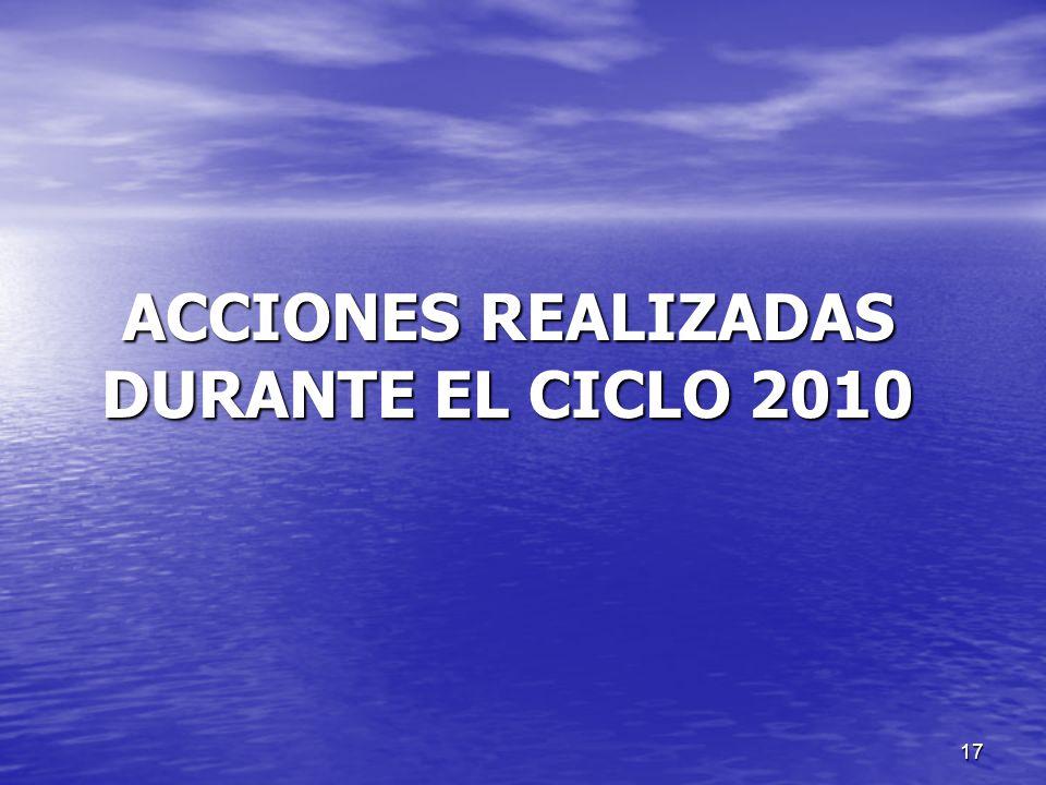 ACCIONES REALIZADAS DURANTE EL CICLO 2010