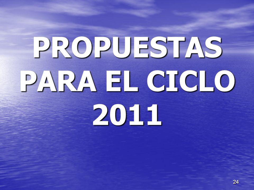 PROPUESTAS PARA EL CICLO 2011