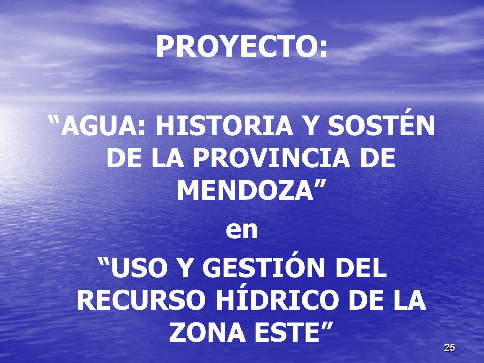 PROYECTO: AGUA: HISTORIA Y SOSTÉN DE LA PROVINCIA DE MENDOZA en