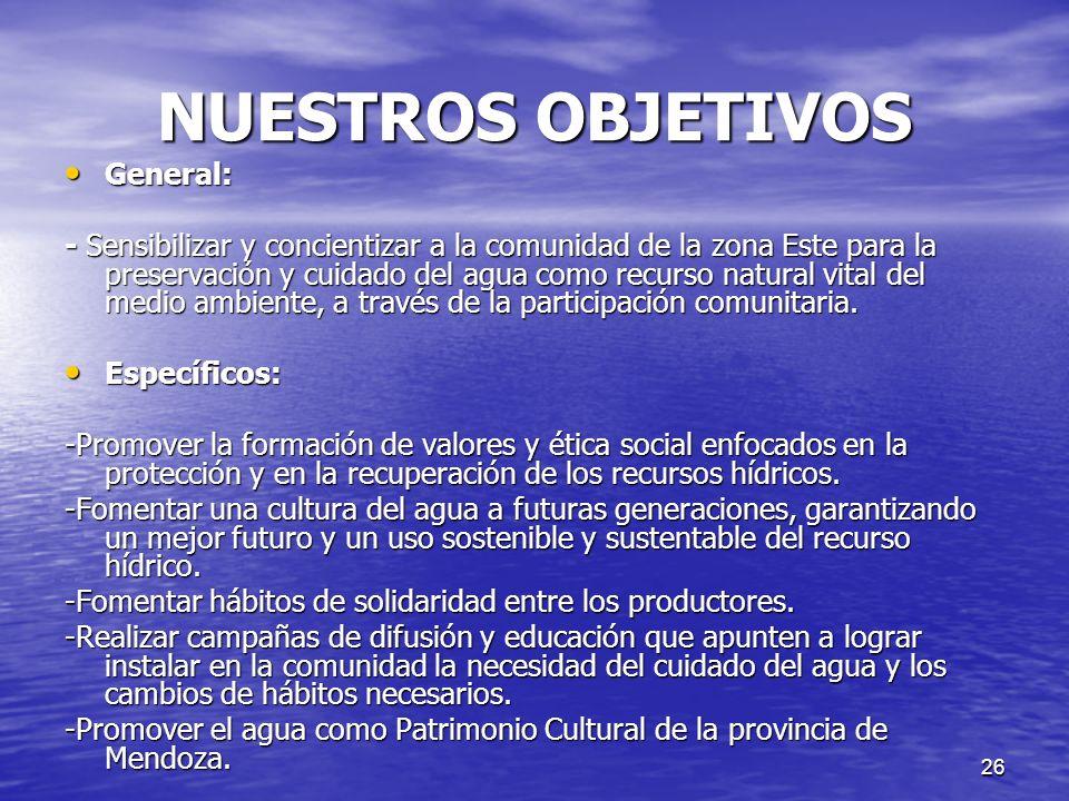 NUESTROS OBJETIVOS General: