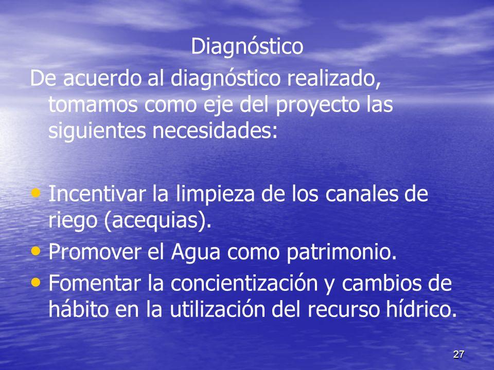 Diagnóstico De acuerdo al diagnóstico realizado, tomamos como eje del proyecto las siguientes necesidades: