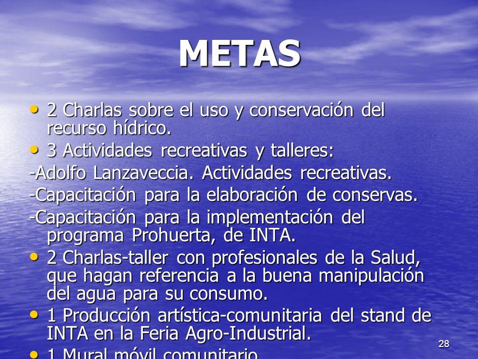 METAS 2 Charlas sobre el uso y conservación del recurso hídrico.