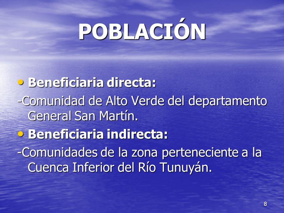 POBLACIÓN Beneficiaria directa: