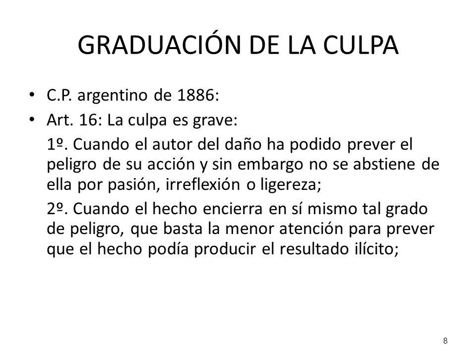 GRADUACIÓN DE LA CULPA C.P. argentino de 1886: