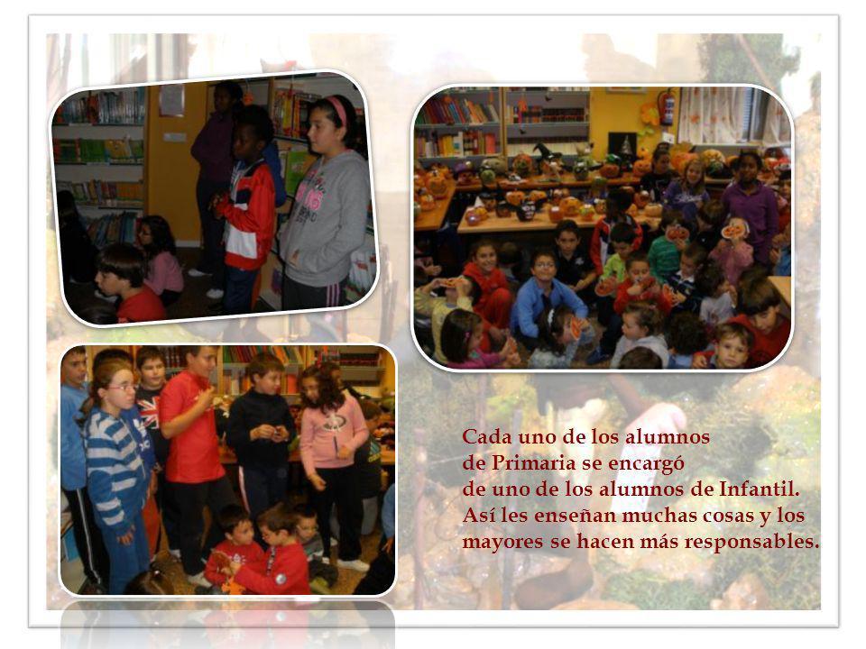 Cada uno de los alumnos de Primaria se encargó. de uno de los alumnos de Infantil. Así les enseñan muchas cosas y los.