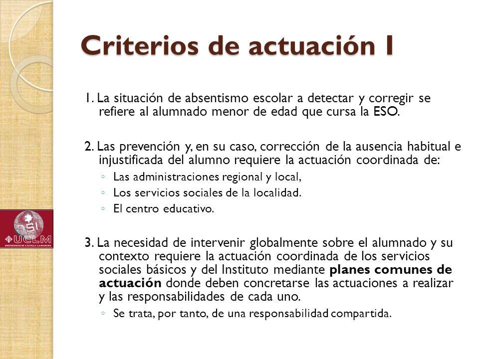 Criterios de actuación I