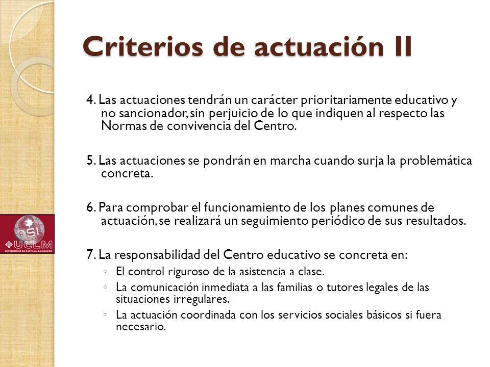 Criterios de actuación II