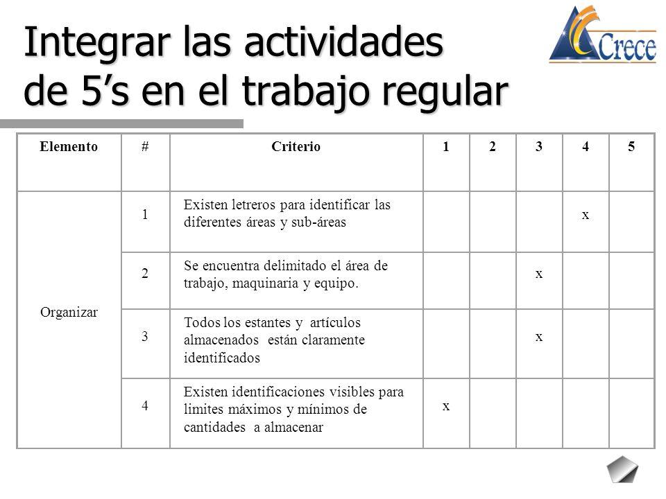 Integrar las actividades de 5's en el trabajo regular