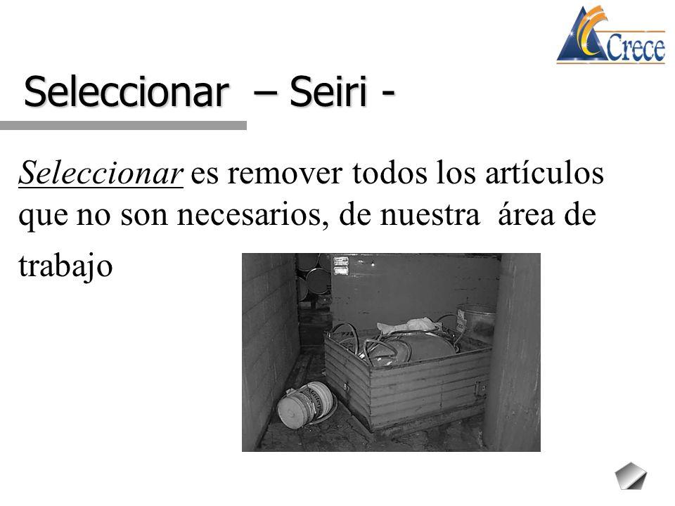 Seleccionar – Seiri - Seleccionar es remover todos los artículos que no son necesarios, de nuestra área de trabajo.