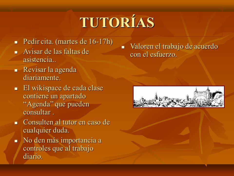 TUTORÍAS Pedir cita. (martes de 16-17h)
