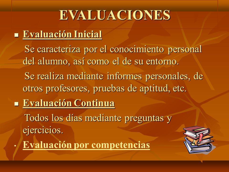 EVALUACIONES Evaluación Inicial