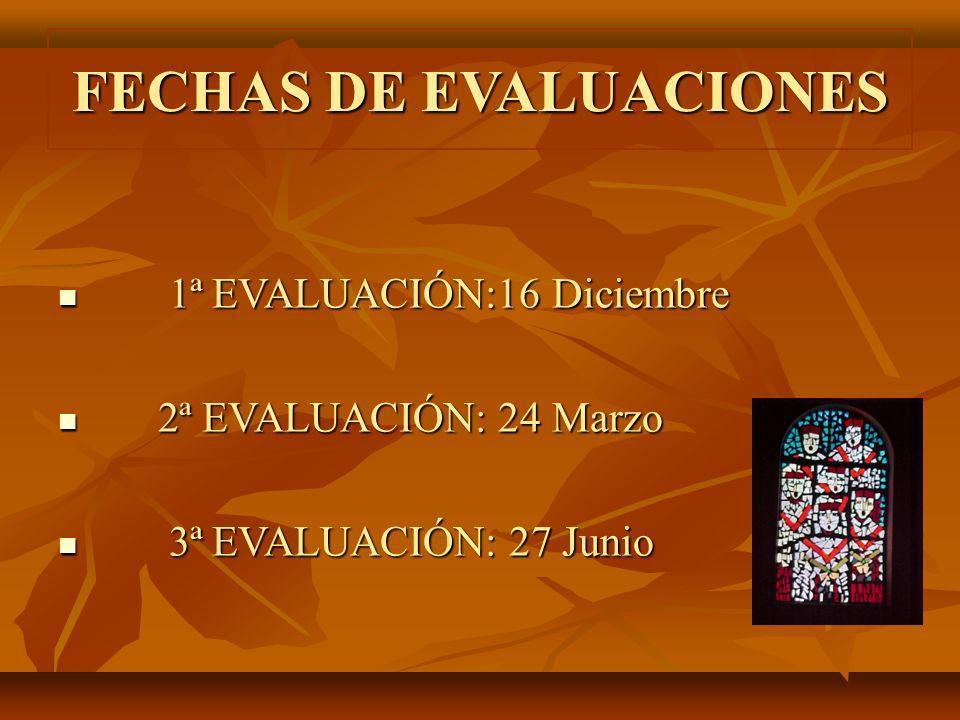 FECHAS DE EVALUACIONES