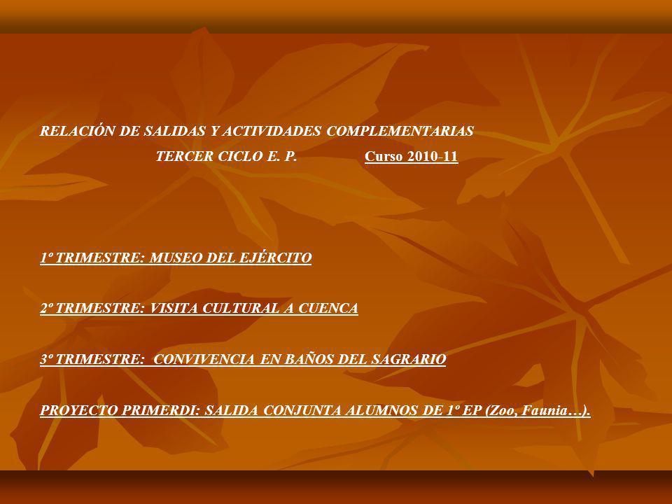 RELACIÓN DE SALIDAS Y ACTIVIDADES COMPLEMENTARIAS