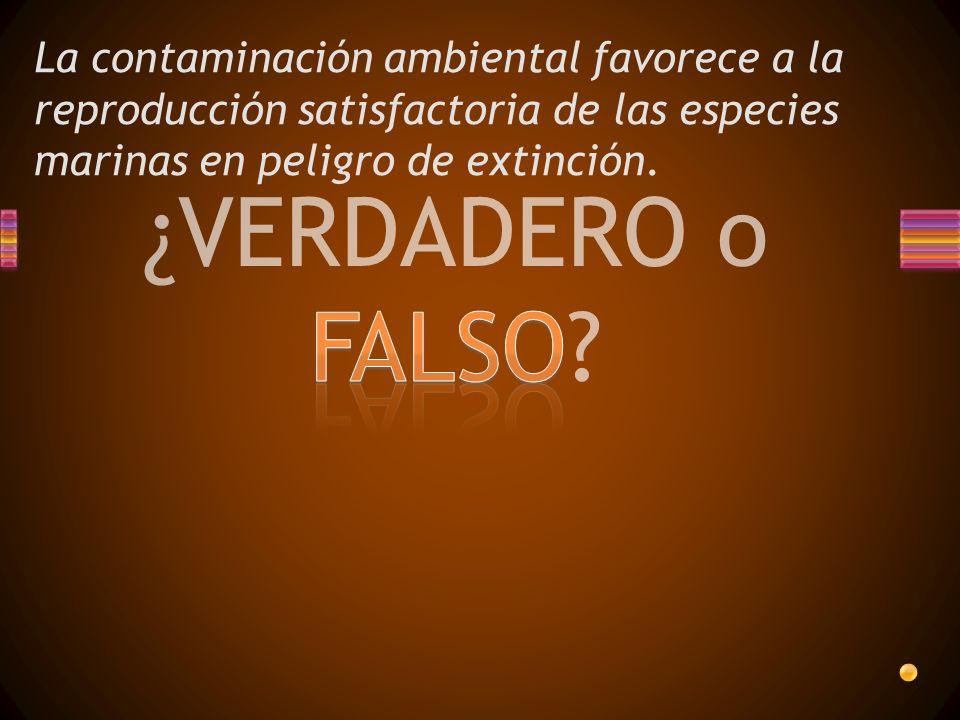 La contaminación ambiental favorece a la reproducción satisfactoria de las especies marinas en peligro de extinción.