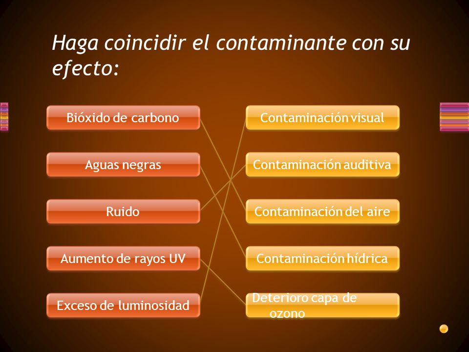 Haga coincidir el contaminante con su efecto: