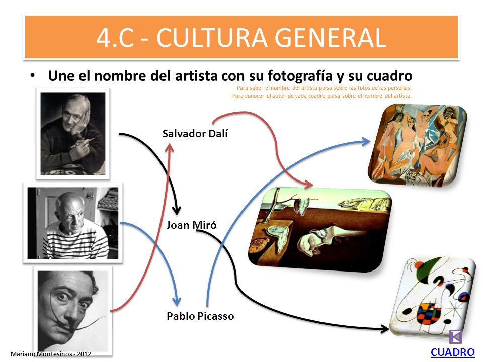 4.C - CULTURA GENERALUne el nombre del artista con su fotografía y su cuadro.