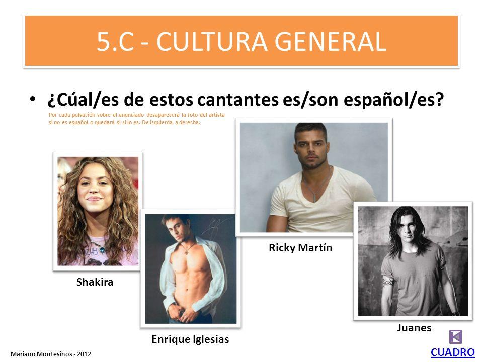 5.C - CULTURA GENERAL ¿Cúal/es de estos cantantes es/son español/es