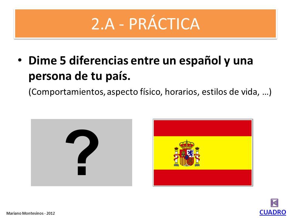 2.A - PRÁCTICA Dime 5 diferencias entre un español y una persona de tu país. (Comportamientos, aspecto físico, horarios, estilos de vida, …)
