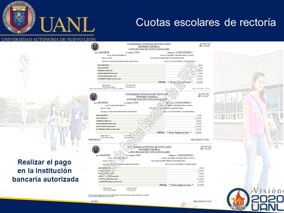 Aviso de Cuotas Escolares de la UANL