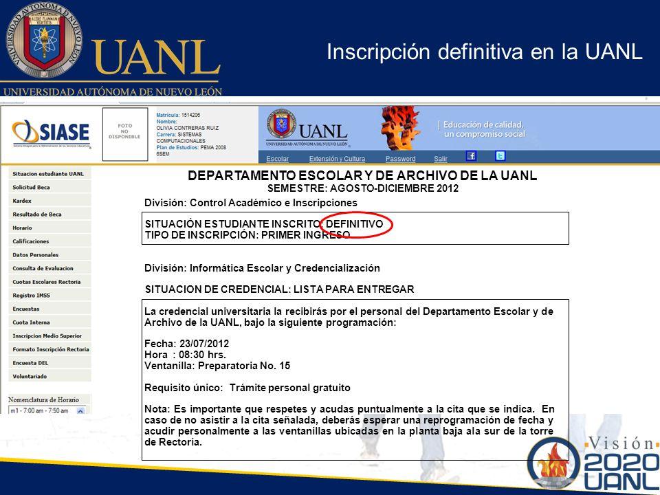 Inscripción definitiva en la UANL