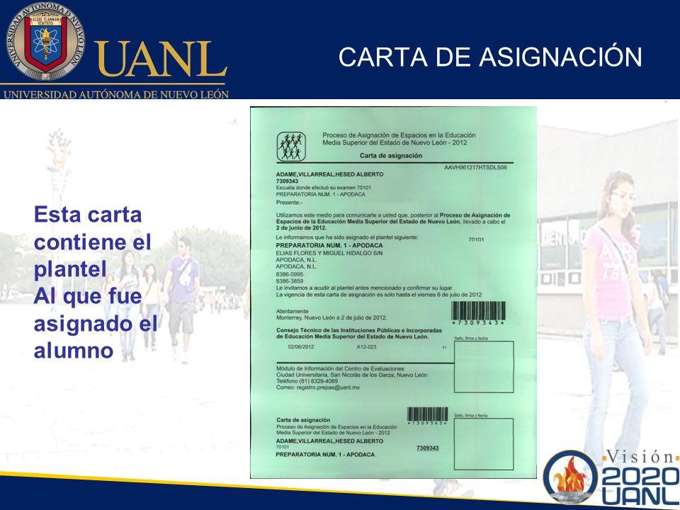 CARTA DE ASIGNACIÓN Esta carta contiene el plantel