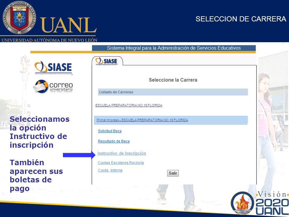 Seleccionamos la opción Instructivo de inscripción