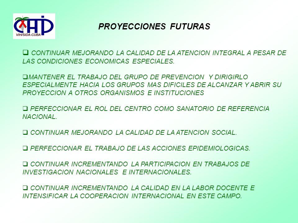 PROYECCIONES FUTURAS CONTINUAR MEJORANDO LA CALIDAD DE LA ATENCION INTEGRAL A PESAR DE LAS CONDICIONES ECONOMICAS ESPECIALES.