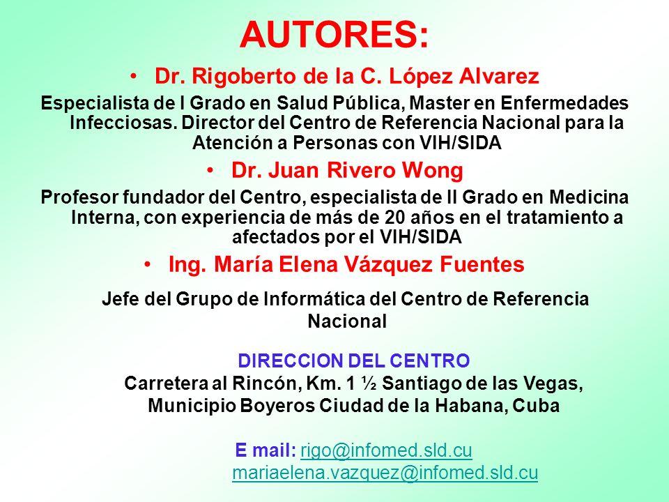 AUTORES: Dr. Rigoberto de la C. López Alvarez.