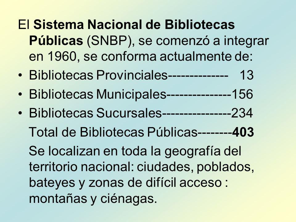 El Sistema Nacional de Bibliotecas Públicas (SNBP), se comenzó a integrar en 1960, se conforma actualmente de: