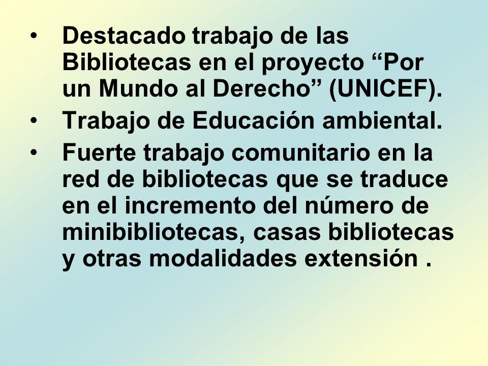 Destacado trabajo de las Bibliotecas en el proyecto Por un Mundo al Derecho (UNICEF).