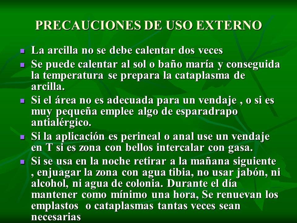 PRECAUCIONES DE USO EXTERNO
