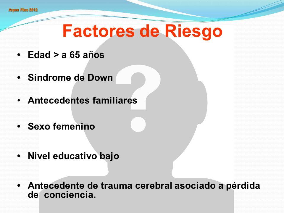 Factores de Riesgo • Edad > a 65 años • Síndrome de Down