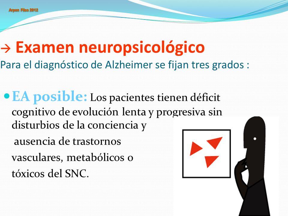  Examen neuropsicológico Para el diagnóstico de Alzheimer se fijan tres grados :