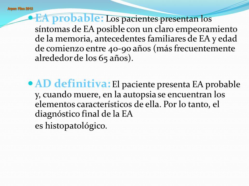 EA probable: Los pacientes presentan los síntomas de EA posible con un claro empeoramiento de la memoria, antecedentes familiares de EA y edad de comienzo entre 40-90 años (más frecuentemente alrededor de los 65 años).