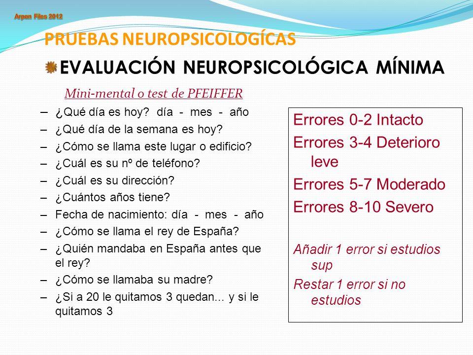 PRUEBAS NEUROPSICOLOGÍCAS