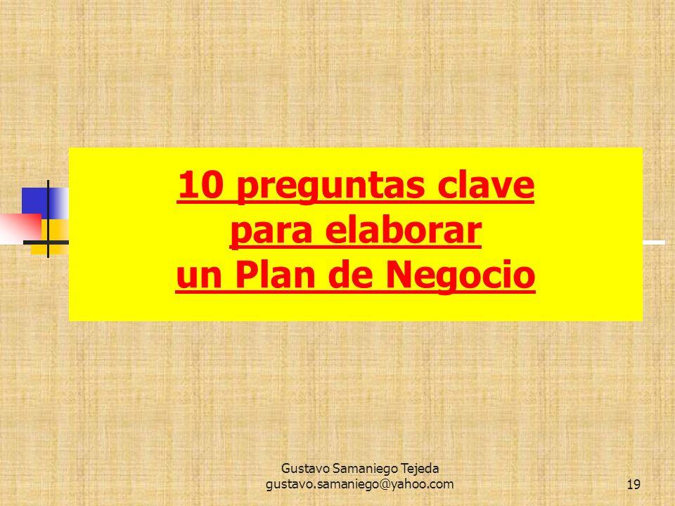 10 preguntas clave para elaborar un Plan de Negocio ,