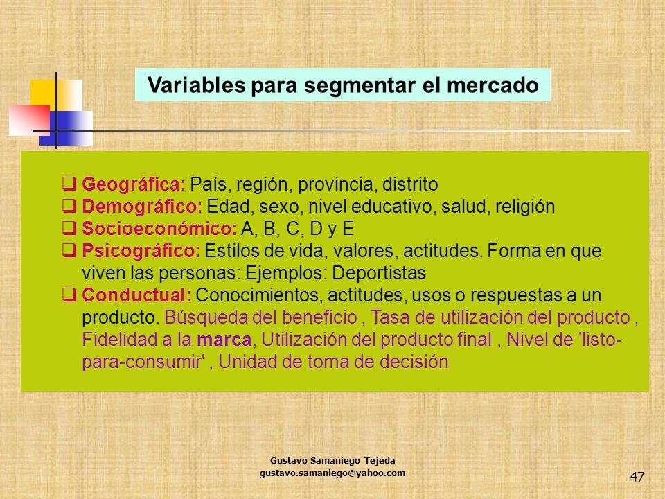 Variables para segmentar el mercado