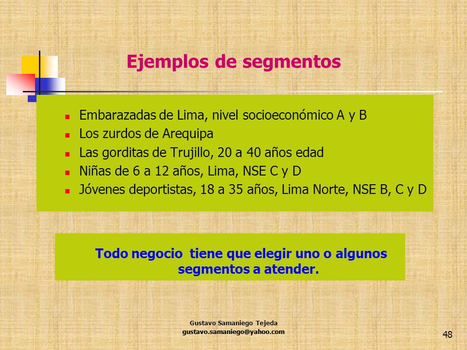 Ejemplos de segmentos Embarazadas de Lima, nivel socioeconómico A y B